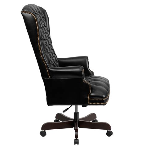 tufted leather executive office chair flash furniture ci 360 bk gg high back traditional tufted