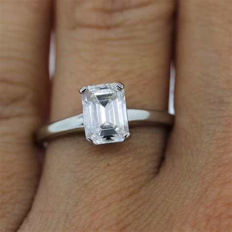 Emerald Cut Engagement Rings by Platinum Certified 1 18ct Emerald Cut Solitaire