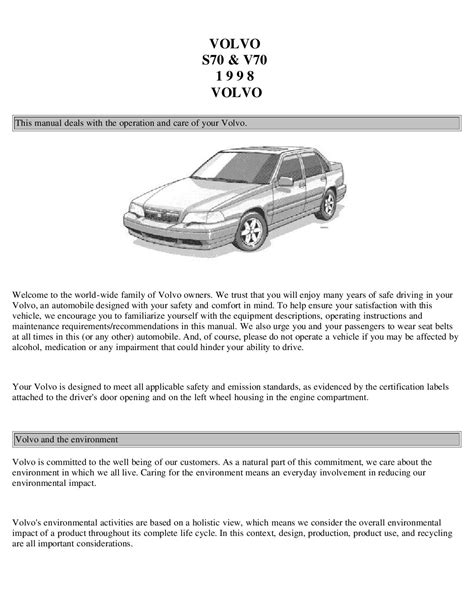 1998 volvo s70 electrical troubleshooting manual 1998 volvo s70 v70 owner s manual car maintenance tips