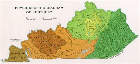 kentucky geography map physiographic map of kentucky