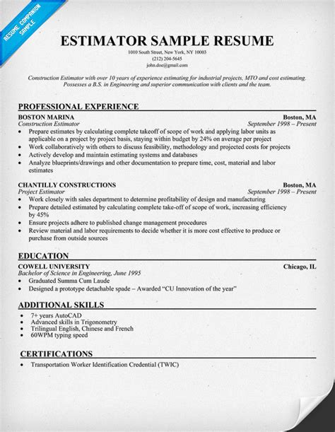 Masonry Estimator Sle Resume by Sle Resume Construction Estimator 28 Images Clinical Lab Technician Resume Sales Technician