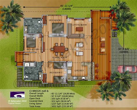 tropical house floor plans ci breeze design wood home pinterest breeze