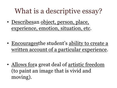 What Is An Descriptive Essay by Descriptive Essay For Week 5