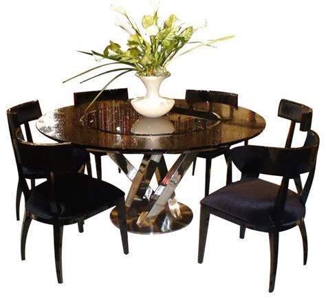 Dining Table With Lazy Susan Ac833 180 Black High Gloss Crocodile Textured Glass Dining Table With Lazy Susan Dining Tables