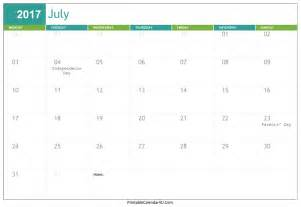 free pdf calendar template july 2017 calendar editable printable template with holidays