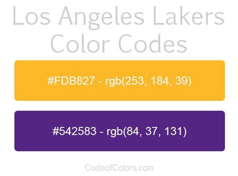 laker colors los angeles lakers team color codes nba team colors in