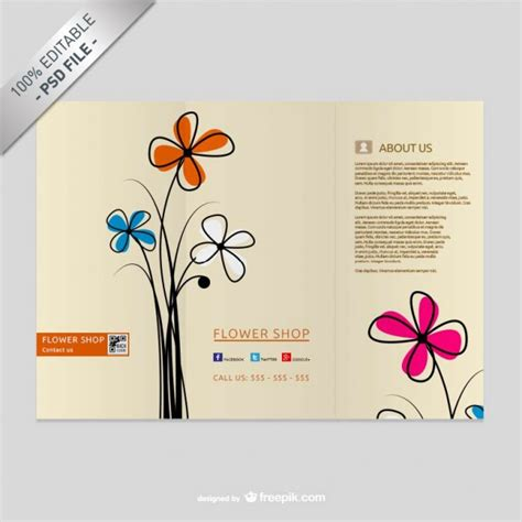Wedding Flowers Free Brochure by Brochure Template With Flowers Psd File Free