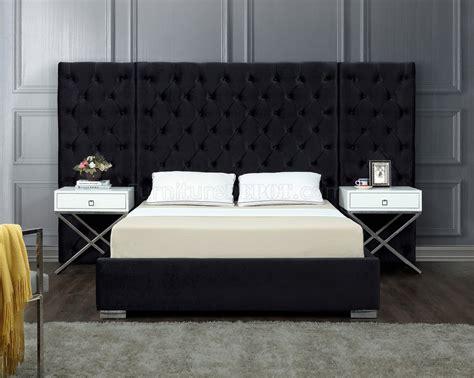 grande upholstered bed  black velvet fabric  meridian