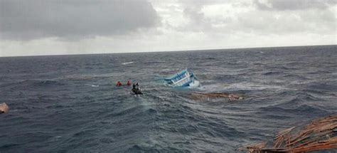 catamaran sailing heavy seas crew of sinking cargo boat rescued at sea maldives