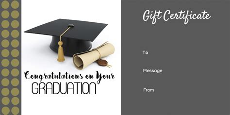Graduation Cards Free Templates by Graduation Gift Certificate Template Free Customizable