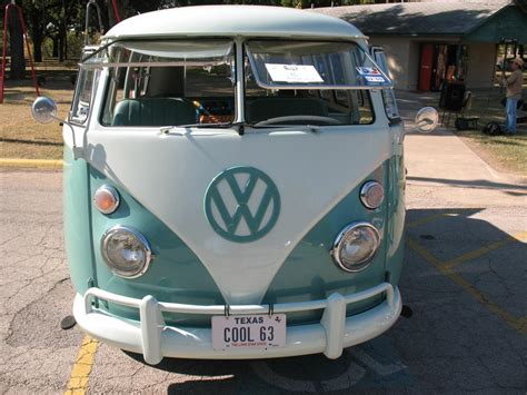 volkswagen van front view mint green and white two tone 1963 vw bus in fort worth