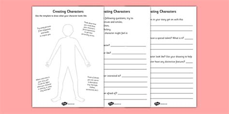 Creating A Character Worksheet by Creating A Character Worksheets Creating A Character