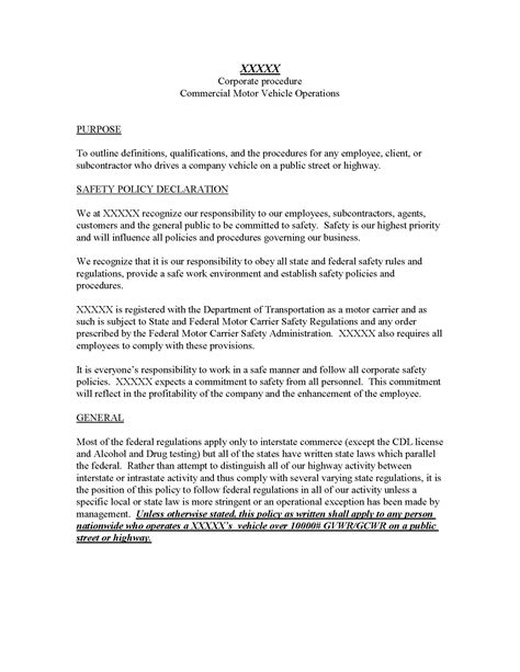 vehicle policy template 28 images company policy