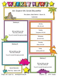 school weekly newsletter templates free templates for newsletters each week different students