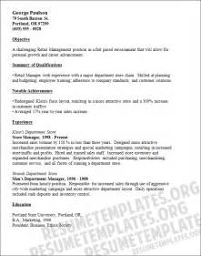 Retail Resume Objectives by Resume Exles For Retail Store Manager Retail Manager Resume Template Resumes