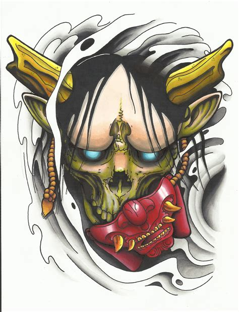 hannya mask tattoo colour hannya mask tattoo design colour first draft cool tattoo
