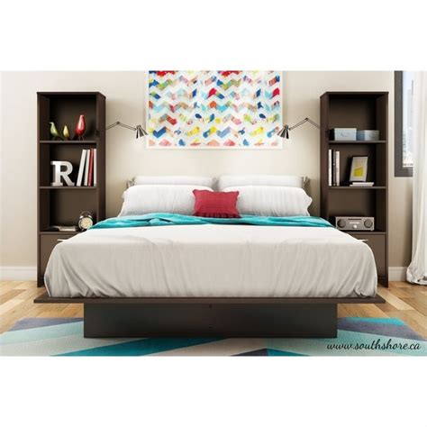 south shore back bay full bookcase headboard in espresso south shore back bay 3 piece platform bed with bookshelf