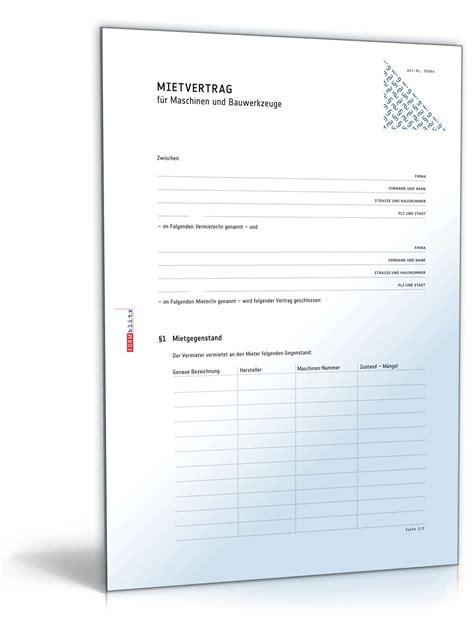 Bewerbung Muster Maschinen Anlagenfuhrer Mietvertrag Maschinen Und Bauwerkzeuge Muster Zum