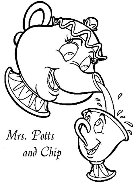 chip beauty and the beast coloring pages beauty beast coloring pages