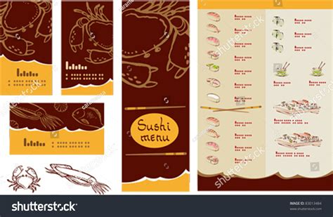japanese menu card template template of sushi menu and business card stock vector