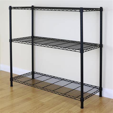 Wire Metal Shelf by 3 Tier Black Metal Storage Rack Shelving Wire Shelf