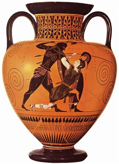 Achilles And Penthesilea Vase by Urn Depicting Achilles Slaying Penthesilea Fear