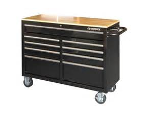 new husky 9 drawer mobile work bench wood top tool chest