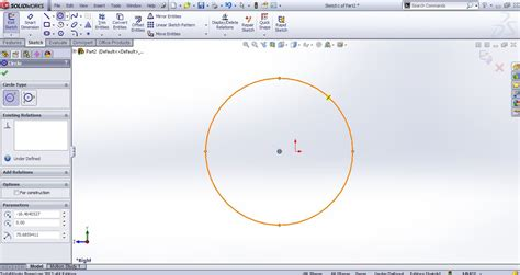solidworks tutorial origin how to use solidworks circle sketching tool