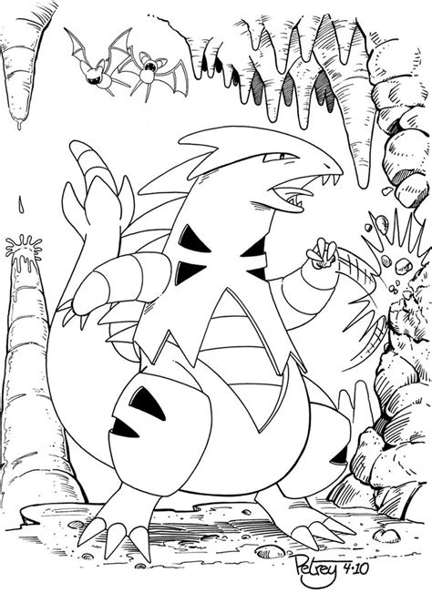 pokemon coloring pages tyranitar tyranitar line art by willpetrey on deviantart