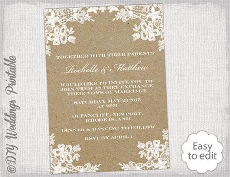 rustic wedding invitation template diy quot rustic lace
