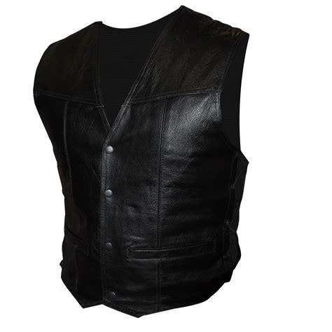 Vest 16 Black tuzo black leather bikers waistcoat vest size 16 ebay