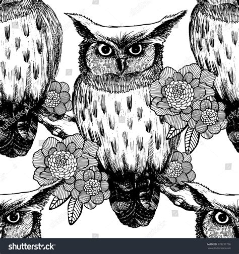 black and white owl pattern vector seamless pattern owl black white stock vector