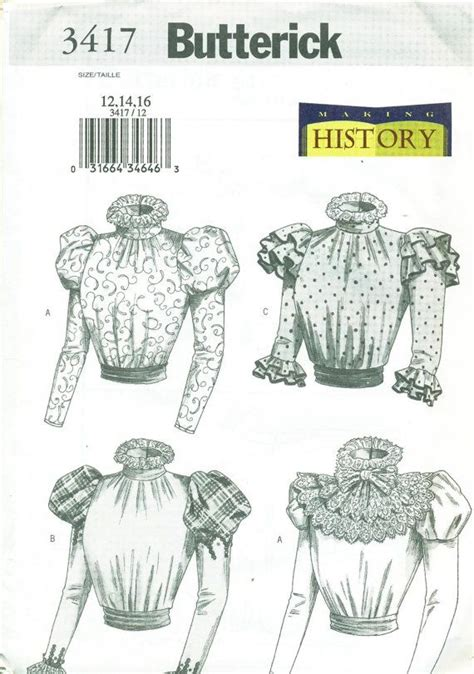 history of pattern making butterick 3417 edwardian shirtwaist blouse pattern