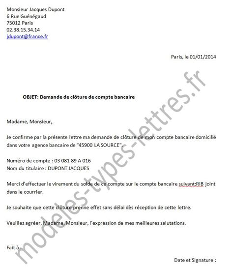 Lettre De Résiliation De Virement Permanent Modele Resiliation Compte Joint Document
