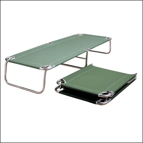 portable bed frame folding portable cot bed green canvas on chrome frame