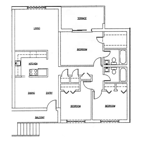 3 Bedroom 2 Bath Ranch Houseplans Three Bedroomed House Plan