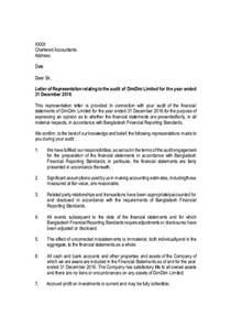 management representation letter format management representation letter sle limited