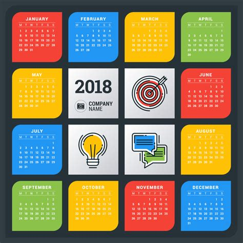 Vector Calendar 2018 Colored Creative 2018 Calendar Vector Vector Calendar