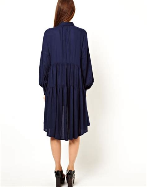 swing shirt dress asos tiered swing shirt dress in blue navy lyst