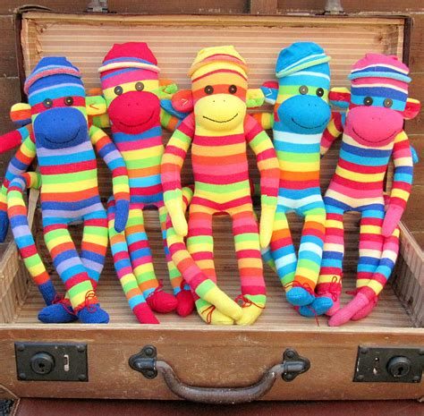 Handmade Monkey - handmade colourful sock monkeys by precious plum