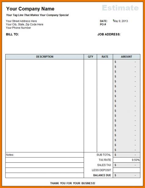 Free Construction Estimate Template Excel Template Business Excel Estimate Sheet Template