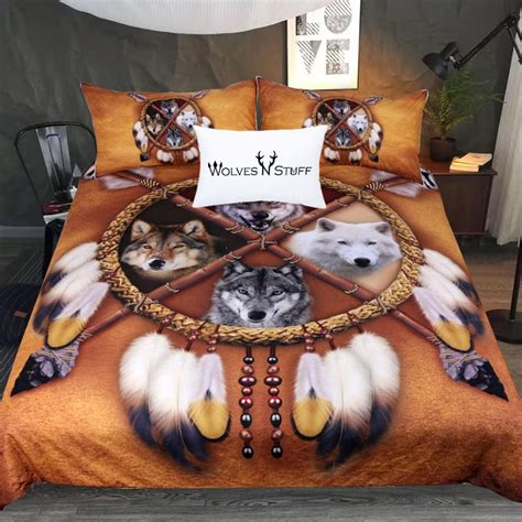 Wolves Bedding Set 4 Wolves Dreamcatcher Bedding Set Wolvestuff