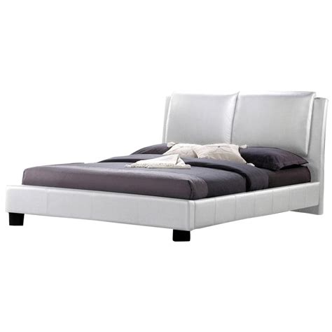 White Leather Platform Bed Sabrina Leather King Platform Bed In White Bbt6082 White King Bed