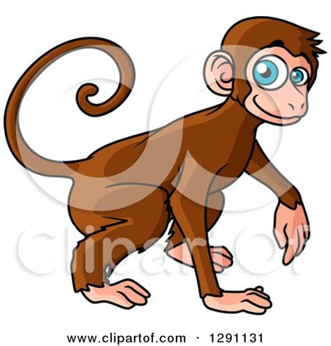 Happy Monkey Blue royalty free stock illustrations of animals by