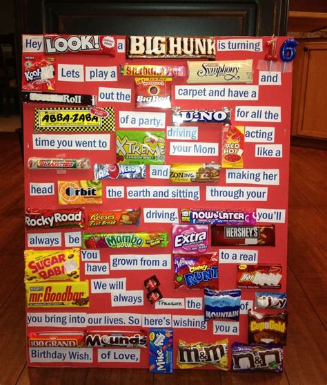 Gram Birthday Card Candy Gram Hayden S 16th Birthday Candy Grams