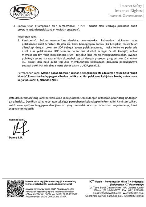 surat keberatan atas tanggapan permohonan informasi trust positif