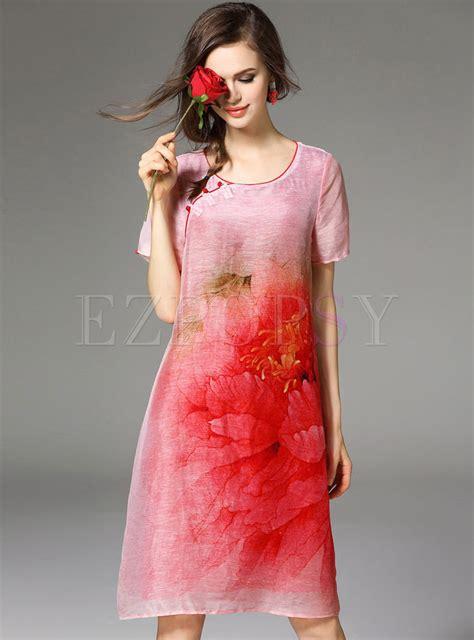 Print Cheongsam dresses shift dresses vintage print silk cheongsam dress
