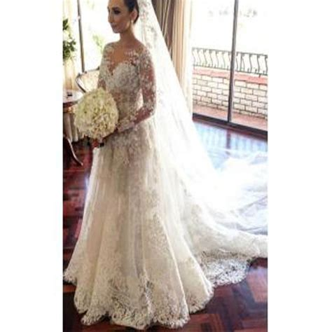 beautiful classic wedding dresses classic lace a line wedding dress long sleeve with flowers
