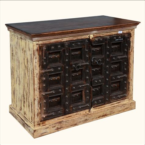 antique door reclaimed wood buffet table storage cabinet