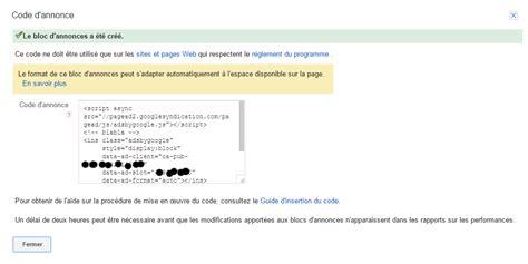 adsense js code modifier le code d annonce adsense blog administrateur